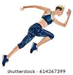 one young caucasian woman... | Shutterstock . vector #614267399