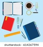 vector set of flat notebook ... | Shutterstock .eps vector #614267594