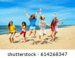 a group of children jumping...   Shutterstock . vector #614268347