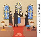 church service communal worship ... | Shutterstock .eps vector #614268464