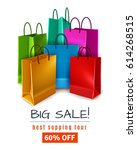 big sale poster with colored... | Shutterstock .eps vector #614268515