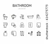 bathroom line icon set