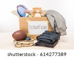 cardboard box with donation... | Shutterstock . vector #614277389