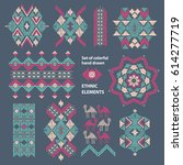 decor elements set. tribal folk ... | Shutterstock .eps vector #614277719
