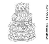 handdrawn doodle cake with... | Shutterstock .eps vector #614279249