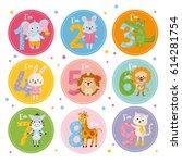 birthday anniversary numbers...   Shutterstock .eps vector #614281754