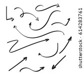 set of vector arrows hand drawn.... | Shutterstock .eps vector #614283761