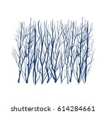 winter forest silhouette  blue... | Shutterstock .eps vector #614284661