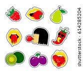 fashion patch badges with... | Shutterstock .eps vector #614285204
