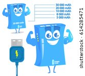 funny character of power bank.... | Shutterstock .eps vector #614285471