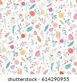 spring seamless floral pattern... | Shutterstock .eps vector #614290955