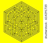geometry. optical illusion cube  | Shutterstock .eps vector #614291735