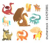 mythological animals  set for... | Shutterstock .eps vector #614292881