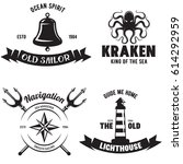 set of sea and nautical... | Shutterstock .eps vector #614292959