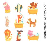 cute animals bathing and... | Shutterstock .eps vector #614292977