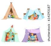cute little children playing... | Shutterstock .eps vector #614293187