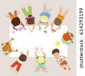 cute litttle kids lying and... | Shutterstock .eps vector #614293199