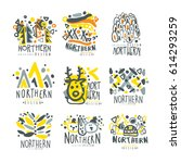 nothern set for label design.... | Shutterstock .eps vector #614293259