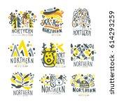 nothern set for label design.... | Shutterstock .eps vector #614293259