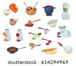 cooking process set with... | Shutterstock .eps vector #614294969