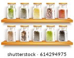 colored and realistic glasses... | Shutterstock .eps vector #614294975