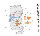 cute cat. little kitten drinks... | Shutterstock .eps vector #614295905