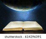 ancient opened book and earth... | Shutterstock . vector #614296391