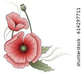 red poppies in vintage style   Shutterstock .eps vector #614297711
