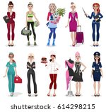 set of different professions ... | Shutterstock .eps vector #614298215
