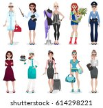 set of different professions ... | Shutterstock .eps vector #614298221