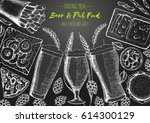 pub food frame vector... | Shutterstock .eps vector #614300129
