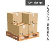 vector icon cargo boxes pallet | Shutterstock .eps vector #614300249