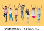 diverse group of kids jumping... | Shutterstock . vector #614300717