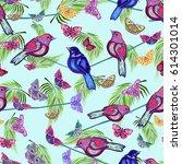 abstract summer pattern ... | Shutterstock . vector #614301014