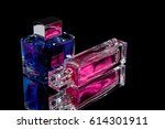 pink and blue perfume with... | Shutterstock . vector #614301911