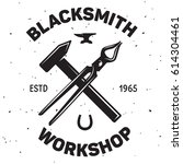 vintage blacksmith labels and... | Shutterstock .eps vector #614304461