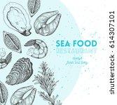 seafood design template. vector ... | Shutterstock .eps vector #614307101