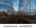new york  brooklyn bridge car... | Shutterstock . vector #614309021