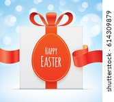 white gift box with egg shaped... | Shutterstock .eps vector #614309879