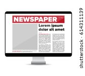 newspaper on screen computer | Shutterstock .eps vector #614311139