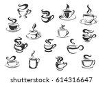 coffee vector icons of vector... | Shutterstock .eps vector #614316647