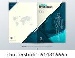 brochure cover design. teal... | Shutterstock .eps vector #614316665