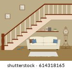 white sofa with pillows ...   Shutterstock .eps vector #614318165