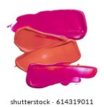 red and pink makeup smears of... | Shutterstock . vector #614319011