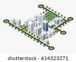 isometric 3d city megapolis... | Shutterstock .eps vector #614323271