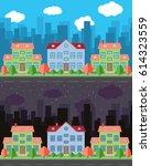 vector city with cartoon houses ... | Shutterstock .eps vector #614323559