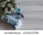 pattern of white daisies in a... | Shutterstock . vector #614323709