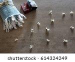template cotton bathrobe ... | Shutterstock . vector #614324249
