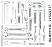 set of tools  hardware.... | Shutterstock .eps vector #614328557