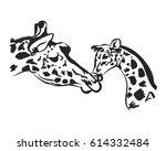 mother giraffe and her cub.... | Shutterstock .eps vector #614332484